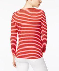 Anne Klein Striped Boat-Neck Top - White L