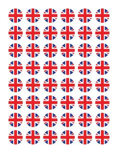 Digital Collage Sheet Union Jack Red White & Blue by gidgetdesigns on etsy one inch circles