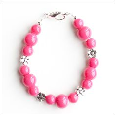 Hot Bright Pink Glass Beads with Flower by lajoliefilleboutique, $5.00