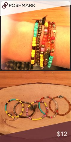 Set of 5 beaded bracelets Elastic stretchable bracelets. Colors- orange, silver, yellow, Amber, gold, turquoise, silver, cream, clear, light purple beads. Handmade. Super cool look. Jewelry Bracelets