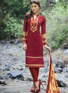 Red Embroidery Work Georgette Printed Party Wear Designer Churidar Suit  http://www.angelnx.com/Salwar-Kameez