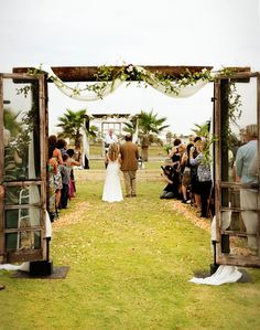 wedding arch | Wedding-Rustic Inspiration / I love the simple arch with old screen ...