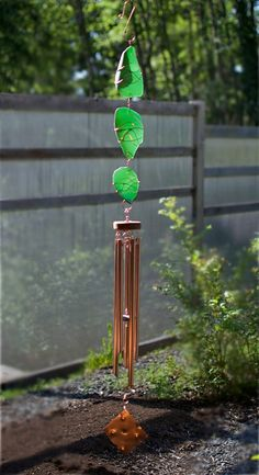 Suncatcher Wind Chime Stained Glass Large Copper Chimes