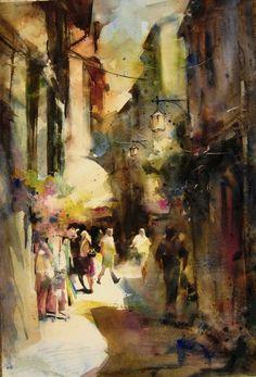 "Contemporary Painting - ""Street 2"" (Original Art from Fealing Lin Watercolors)"