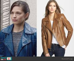 Cat's blue leather moto jacket and layered top on Beauty and the Beast.  Outfit Details: http://wornontv.net/49787/ #BATB