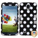 Samsung Galaxy S4 Hybrid Case - White Polka Dots(Black)