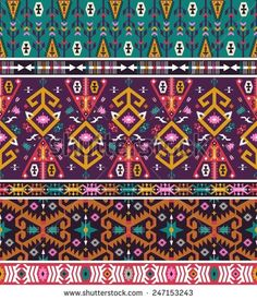 Seamless aztec pattern with geometric elements