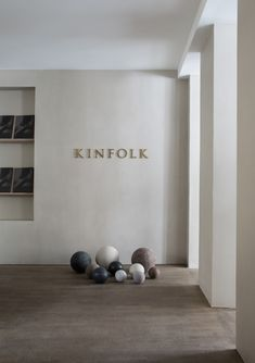 Ana Degenaar: Close Contact—A Kinfolk Exhibition Vintage weighted balls Wayfinding Signage, Signage Design, Shop Signage, Wellness Studio, Appartement Design, Interior Architecture, Interior Design, Bussiness Card, Coffee Shop Design