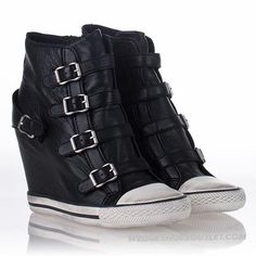 2a8a6a3c03c9 Amazing Ash Sneaker Womens United Wedge Black Leather High Top New