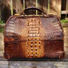 Mens vintage crocodile bag for sale Leather Luggage, Leather Briefcase, Leather Bag, My Bags, Purses And Bags, Fashion Bags, Mens Fashion, Unique Handbags, Expensive Shoes