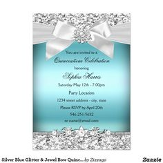Silver Pink Glitter Jewel Bow Quinceanera Birthday Card Silver and Pretty Pink Quinceañera Birthday Party Invitation. Please note: All flat images! Invitation Paper, Custom Invitations, Invites, Wedding Invitations, Quince Invitations, 1st Birthday Invitations, Invitation Ideas, Shower Invitations, Purple Glitter
