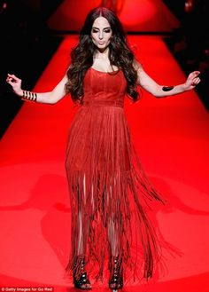 Alexa Ray Joel sashays down the runway in a fringed frock at the Go Red For Women fashion show in NYC   Daily Mail Online