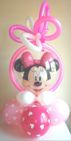 Double Bubble Minnie Mouse Pink Girls Princess Hearts Themed Minie Mouse Party, Minnie Mouse Birthday Theme, Mickey Party, Birthday Balloons, Balloon Arrangements, Balloon Centerpieces, Balloon Decorations Party, Love Balloon, Balloon Gift