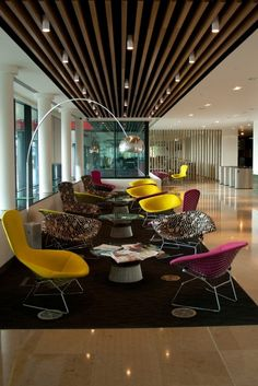 Reception of the Guardian newspaper's new offices at Kings Place London by Bennett Interior Design.