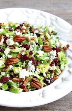 Chopped Brussels Sprouts with Dried Cranberries, Pecans & Blue Cheese   luvskinny