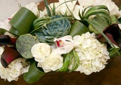 Bouquet for me... maybe with light blue hydrangeas and different filler flowers. Love the hydrangea/succulent combo.