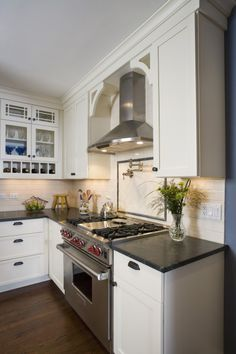 Arches on contemporary exhaust fan;  AND wolf cooktop