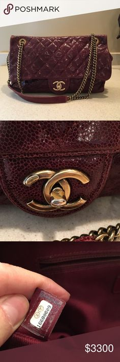 CHANEL : Large Shiva Bag Burgundy quilted leather shoulder bag with gold-tone hardware, chain straps, one interior zip pocket and turn lock closure at interlocking C's. Includes original dust bag.  If you're looking for an alternative to the reissue or a timeless classic in caviar, the Shiva is a good option since the bag is the perfect combination of the two. CHANEL Bags Shoulder Bags