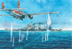 "Mitsubishi ""Rikko"" Attacking HMS Prince of Wales by Peter Dennis Military Diorama, Military Art, Hms Prince Of Wales, Imperial Japanese Navy, War Thunder, Naval History, Ww2 Planes, Ww2 Aircraft, Nose Art"