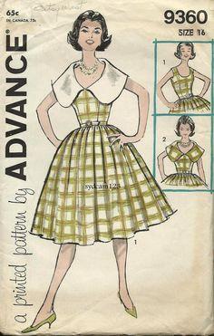 Vintage 1960 Full Sundress Collarless or Large Collar...Advance 9360 Bust 36