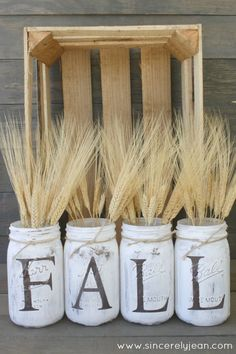 41 Easiest DIY Projects Ever - Fall Rustic Mason Jars - Easy DIY Crafts and Projects - Simple Craft Ideas for Beginners, Cool Crafts To Make and Sell, Simple Home Decor, Fast DIY Gifts, Cheap and Quic (Cool Easy Diys) Pot Mason Diy, Fall Mason Jars, Rustic Mason Jars, Mason Jar Crafts, Easy Diy Crafts, Decor Crafts, Rustic Crafts, Bee Crafts, Rustic Fall Decor