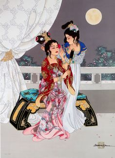 Geishas, Painting by Caroline Young.  For more information, please fan us at: www.facebook.com/ContemporaryChineseArt and check out our site at: www.cwgalleries.com