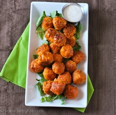Buffalo quinoa bites. Healthier snack for football Sunday