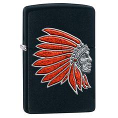 Zippo Lighter: Indian Head - Black Matte