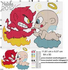 #ponto cruz #angel & devil