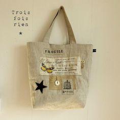 Sacs lin cabas 4 - Photo de Les sacs - Trois fois rien, la petite fabrique...