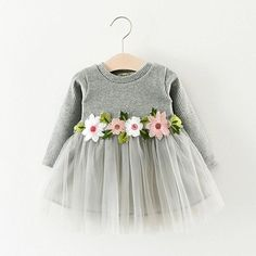 Sweet Flower Long Sleeve Mesh Dress for Toddler and Baby Girls,Knitted and Tulle Dress Little Girl Dresses, Girls Dresses, Mini Dresses, Baby Tutu Dresses, Mini Skirts, Cotton Dresses, Long Sleeve Mesh Dress, Sleeved Dress, Baby Girl Winter