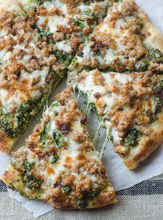 Sausage and Kale Pesto Pizza