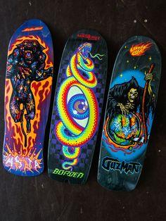 Never too cool for old school! Get the Asta, Guzman & Borden pro decks by Santa Cruz Skateboards now at our shop!   #skatedeluxe #SK8DLX #santacruzskateboards #freshwood #7ply