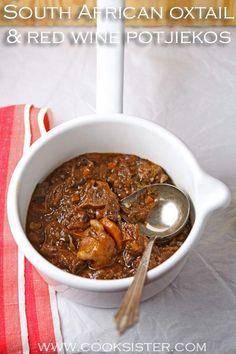 Traditional South African Oxtail and Red Wine Potjiekos (Slow-Cooked Stew Done In A Cast-Iron Pot Over Coals) Oxtail Recipes, Meat Recipes, Cooking Recipes, Oven Recipes, Cooking Corn, Cooking Pumpkin, Cooking Steak, Yummy Recipes, Healthy Recipes