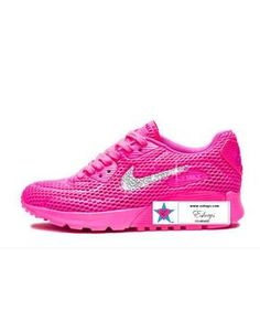 Custom Rhinestone Women AIR MAX 90 ULTRA Breathe Running Shoes PINK BLAST 101aea639b42