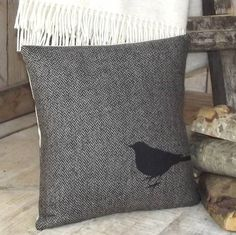 ' Blackbird ' Tweed Cushion