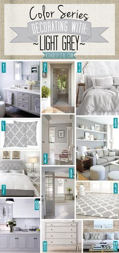 Color Series; Decorating with Light Grey. Light Grey, silver, grey home decor. | A Shade Of Teal