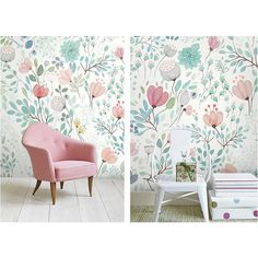 4 Colors Watercolor Blossoms Wallpaper Fresh Spring Flower Leaves Wall... ❤ liked on Polyvore featuring home, home decor, wall art, leaf home decor, flower wall art, flower stem, blossom wall art and leaves wall art