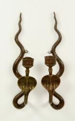 4082 - Pr. Egyptian Revival Cobra Sconces June Estate Auction | Official Kaminski Auctions