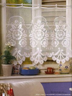 more filet crochet patterns including these curtains Crochet Curtain Pattern, Crochet Curtains, Curtain Patterns, Lace Curtains, Crochet Tablecloth, Doily Patterns, Crochet Doilies, Crochet Patterns, Knitting Patterns
