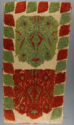 Embroidered Textile   Made in Greece  18th century  Linen plain weave with silk embroidery in cross and loose cross stitches