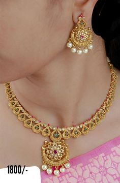 Gorgeous one gram gold choker with matching chaandbali. Necklace or choker with beads hangings. Jewelry Design Earrings, Gold Earrings Designs, Necklace Designs, Gold Designs, Jewelry Bracelets, Gold Necklace Simple, Gold Jewelry Simple, Gold Wedding Jewelry, Gold Jewellery