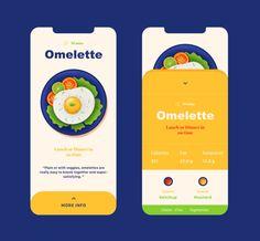 Omelette - Mobile Design by Nino Lekveishvili Behance Project Ui Design Mobile, App Ui Design, Branding Design, Flat Design, Pad App, Brand Building, Screen Design, Layout, Mobile App