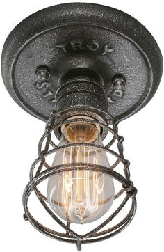 The Troy lighting Conduit Ceiling Light, a modern ceiling light with metal frame and dimmable incandescent bulb, is a lamp with a vintage/industrial presence. Industrial Ceiling Lights, Industrial Light Fixtures, Rustic Industrial, Industrial Lamps, Industrial Wallpaper, Design Industrial, Industrial Stairs, Industrial Windows, Vintage Light Fixtures