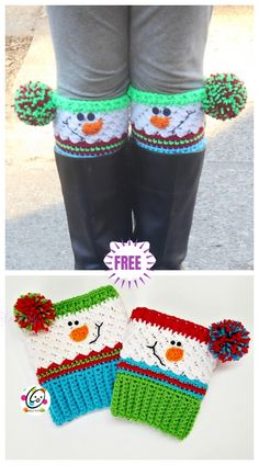 Crochet Snowman Boots Crochet Pattern Crochet Snowman Boot Cuff Free Crochet Pattern Best Picture For Crochet bolsos For Your Taste You are looking for something,. Guêtres Au Crochet, Crochet Boots, Crochet Slippers, Crochet Crafts, Crochet Projects, Free Crochet, Knitting Projects, Crochet Kids Scarf, Crochet Angels