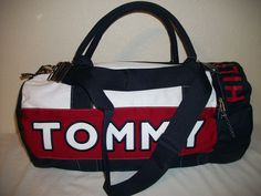 Tommy Hilfiger Duffle Gym Bag Color Navy Red White Large | eBay