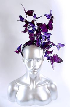 Butterfly Headdress in purple by Straight-Laced Boutique Fascinator Hats, Fascinators, Headpieces, Accessoires Photo, Purple Butterfly, Tiaras And Crowns, Headgear, Hair Pieces, Wearable Art