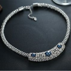 Zinc Alloy Necklace Made with Swarovski Elements Crystal