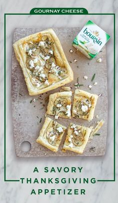 Wow guests' appetites with this delicious first course: a puff pastry tart topped with potato, rosemary and crumbled Boursin Cheese