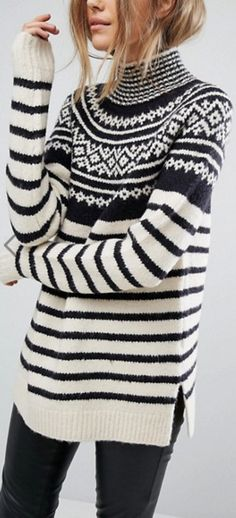 Shop the latest French Connection Norway Knitted Sweater trends with ASOS! Knitwear Fashion, Knit Fashion, Sweater Fashion, Summer Knitting, Fair Isle Knitting, Norwegian Knitting, Winter Typ, How To Purl Knit, Girls Sweaters